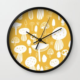 Forest Mushrooms Yellow Wall Clock