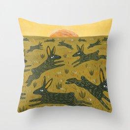 Leaping Bunnies Throw Pillow