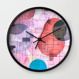 geometric square and circle pattern abstract in red pink blue Wall Clock