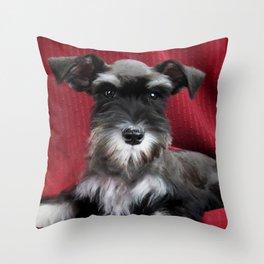 Oreo Schnauzer Puppy Throw Pillow