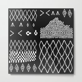 Moroccan Patchwork in Black and White Metal Print