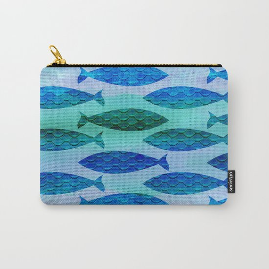 Blue Turquoise GreenWatercolor Fish Pattern Carry-All Pouch
