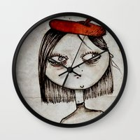 french fries Wall Clocks featuring French Fries by Zara Kunst