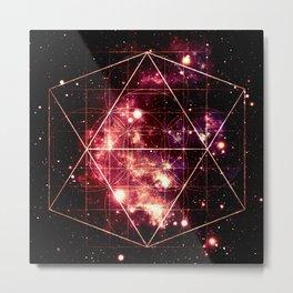 Burgundy Magenta Galaxy Sacred Geometry : Golden Rectangles Metal Print