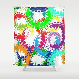 Texture of bright colorful gears and laurel wreaths in kaleidoscopic style. Shower Curtain
