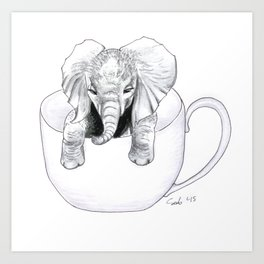 Tiny Elephant BIG Mug Art Print