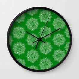 Christmas star on green Wall Clock