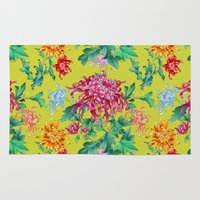 oriental Area & Throw Rugs featuring Oriental Flowers by Chicca Besso