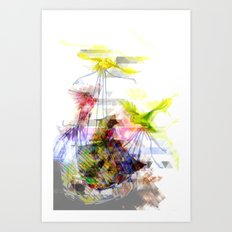 Flying Home (Glitch Remix) Art Print