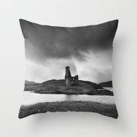 scotland Throw Pillows featuring SCOTLAND, CASTLE by Carlos Sanchez