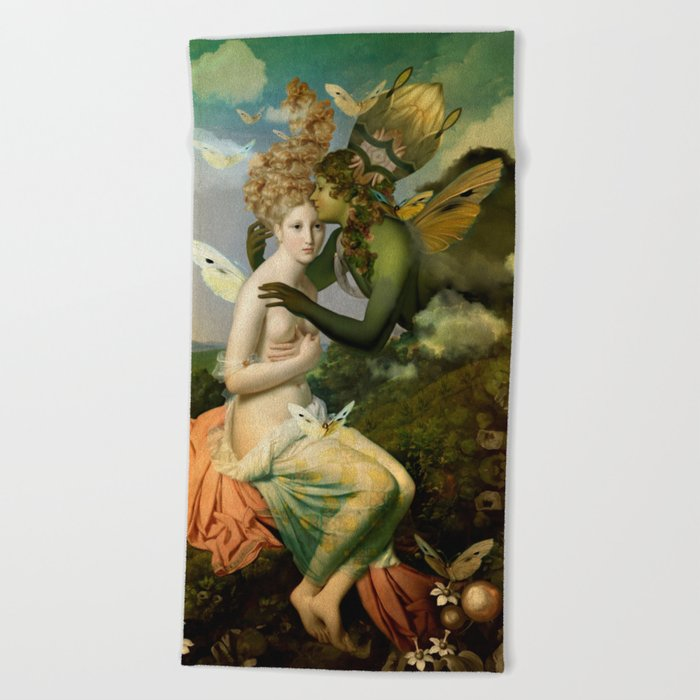 """""""The body, the soul and the garden of love"""" Beach Towel"""