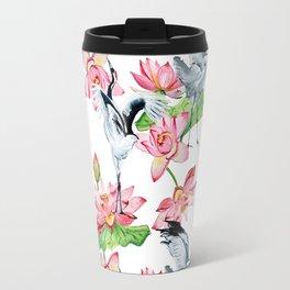 Pattern with cranes and lotuses Travel Mug