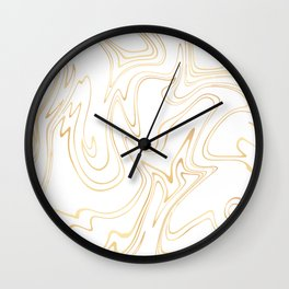 Liquid Gold Marble. Trendy golden ink marbling texture. Suminagashi art. Clear iPhone Case Wall Clock