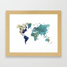 World Map Wind Rose Framed Art Print