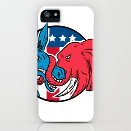 Donkey Biting Elephant Trunk American Flag Drawing iPhone Case