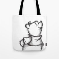 pooh Tote Bags featuring Insightful Pooh by Makayla Wilkerson