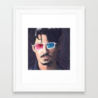 johnny depp Framed Art Prints featuring Johnny Depp by Pazu Cheng
