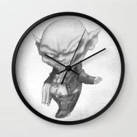 black butler Wall Clocks featuring Vlad the Impatient Butler by Sebastian Black