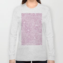 Modern trendy white floral lace hand drawn pattern on mauve pink lavender Long Sleeve T-shirt
