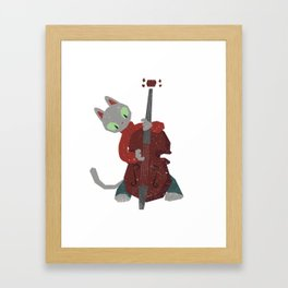 Jazz Cat Playing Upright Bass T-Shirt Framed Art Print