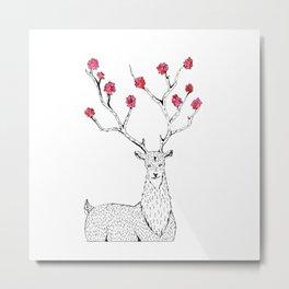 Deer with flowers Metal Print