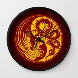 Yellow and Red Dragon Phoenix Yin Yang Wall Clock