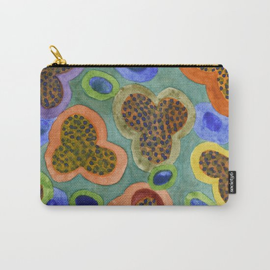 Summerly Blossoms and Olives Pattern Carry-All Pouch