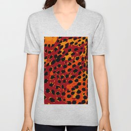 Cheetah Spots in Red, Orange and Yellow Unisex V-Neck