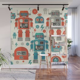 Retro Space Robot Seamless Pattern Wall Mural