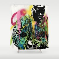 biggie smalls Shower Curtains featuring Biggie Smalls Spray Paint Illustration by ConorMcClure