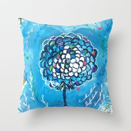 Happy Big Blue Throw Pillow