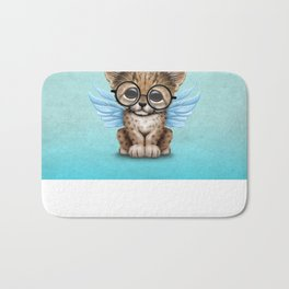 Cheetah Cub with Fairy Wings Wearing Glasses on Blue Bath Mat