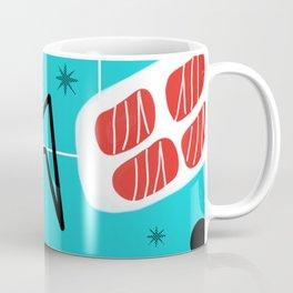 Turquoise Red Black Mid Mod Print Coffee Mug