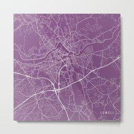 Lowell Map, USA - Purple Metal Print