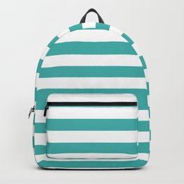 Narrow Horizontal Stripes - White and Verdigris Backpack
