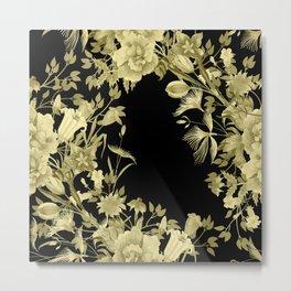 Stardust Black and Gold Floral Motif Metal Print