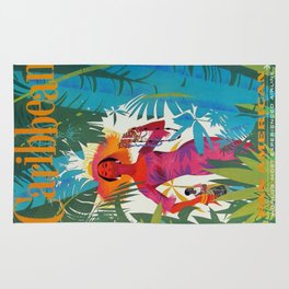 Vintage Colorful Caribbean Tropical Travel Poster Banana Leaves Palm Trees Woman Rug