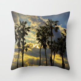 Sunbeams and Palm Trees by Cabrillo Beach Los Angeles California Throw Pillow