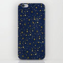 Golden Stars on Blue Background iPhone Skin