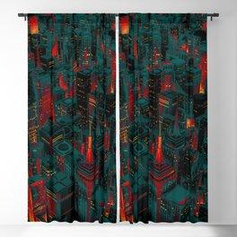 Night city glow cartoon Blackout Curtain