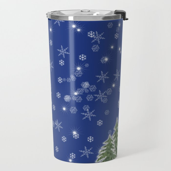 Lighted Christmas Tree at Night with Snowflakes Travel Mug