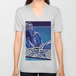 9118s-KMA_5209 Blue Nude Striped Figure Looking Down Abstract Fine Art Nude Unisex V-Neck