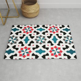 Oriental Pattern - Geometric Design, red / blue / grey Rug