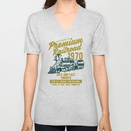 premium railroad Unisex V-Neck