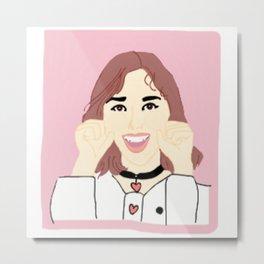 Knock Knock! Nayeon Pink Metal Print