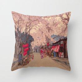 Avenue of Cherry Trees Hiroshi Yoshida Japanese Woodblock Prints Throw Pillow