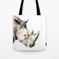 rhino Tote Bags featuring RHINO by Anne Hviid Nicolaisen