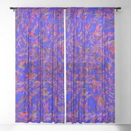 whirlwind blue and red Sheer Curtain