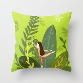 Dance Girl In Grass Throw Pillow