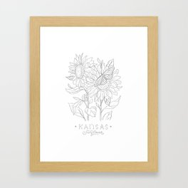 Kansas Sketch Framed Art Print